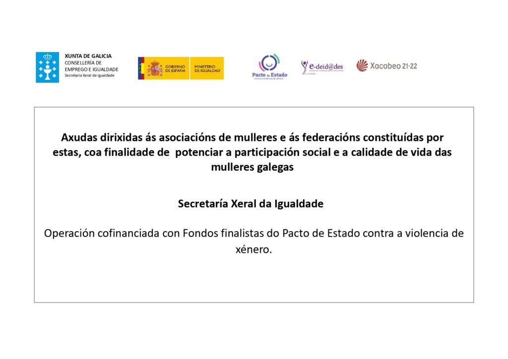 Axudas dirixidas ás asociacións de mulleres e ás federacións constituídas por estas, coa finalidade de potenciar a participación social e a calidade de vida das mulleres galegas